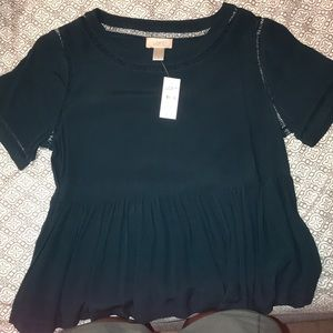 NWT loft peplum short sleeve top